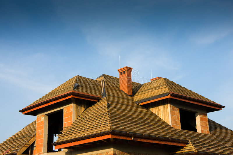 Wooden roof under construction royalty free stock photo