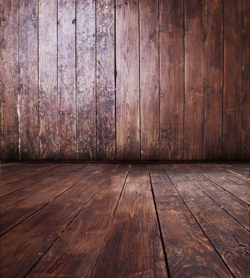 Wooden room. Empty room - wooden wall with floor stock image