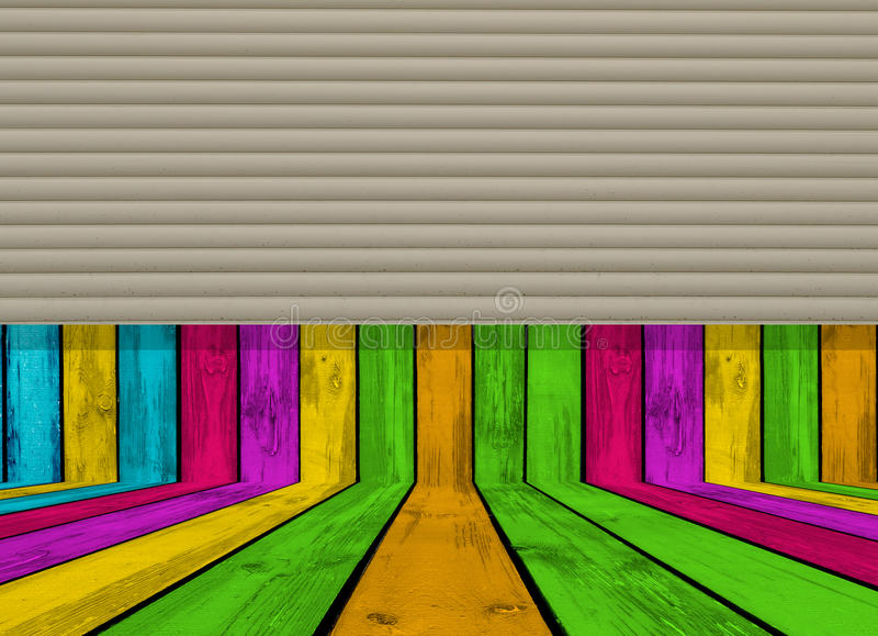 Wooden Room Half Closed with Rolling Shutters. A multicolored empty wooden room half closed with rolling shutters stock illustration