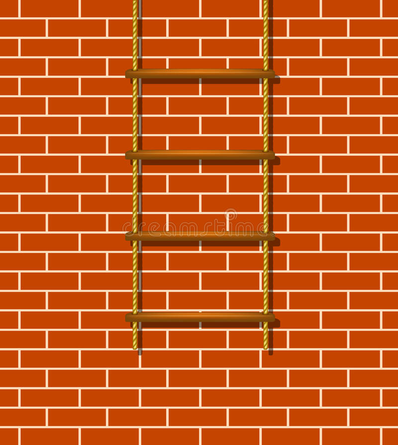 Wooden rope ladder and brick wall stock illustration