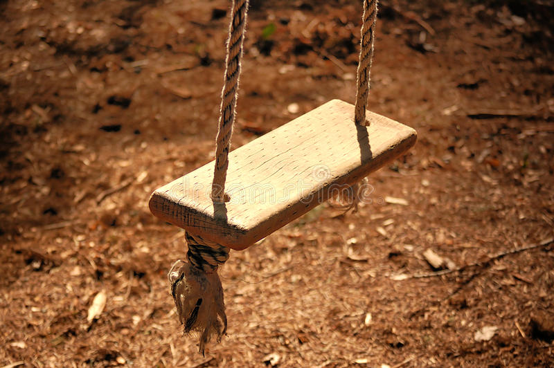 Wooden Rope Swing royalty free stock photography