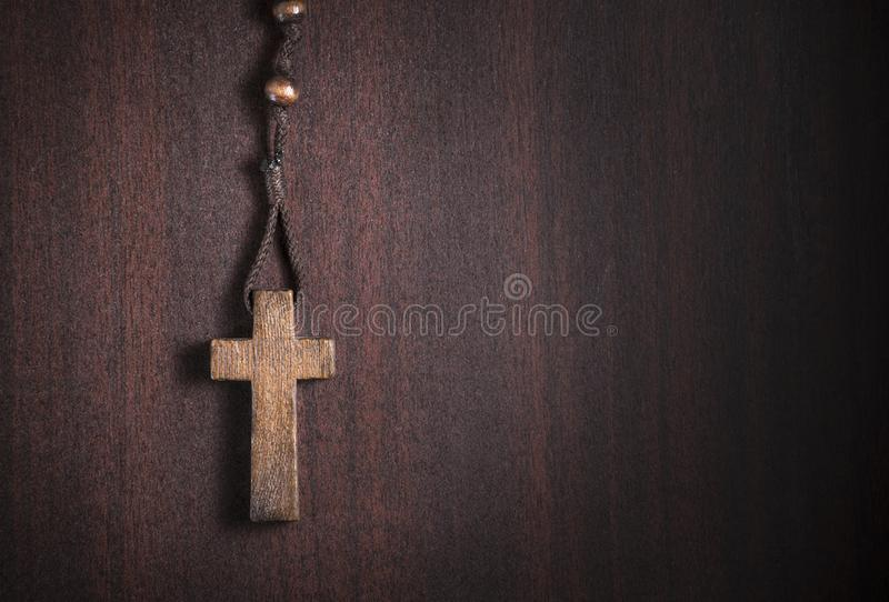 Wooden rosary cross royalty free stock image