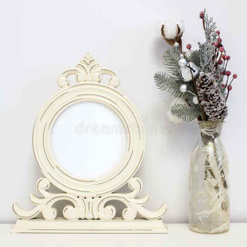 Wooden Round Frame And Winter Decorations. White Clear Mock-up For ...