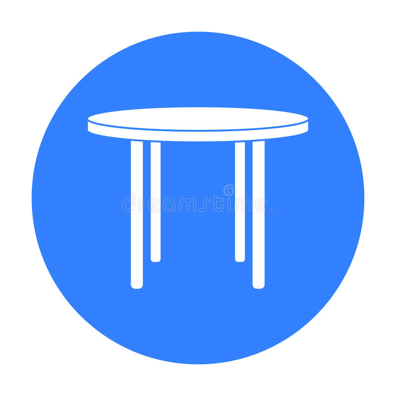 Wooden round table icon in black style isolated on white background. Furniture and home interior symbol stock vector. Wooden round table icon in black style vector illustration