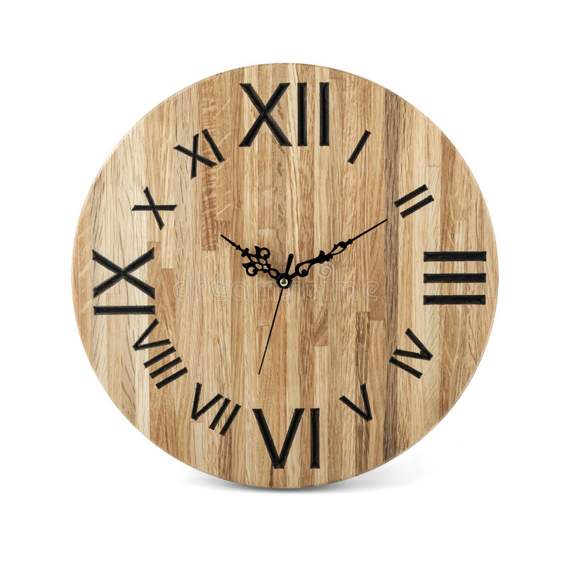 Wooden round wall watch - clock isolated. On white background royalty free stock images