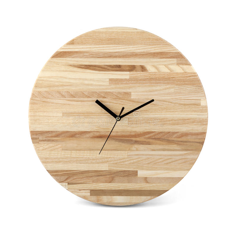 Wooden round wall watch - clock isolated. On white background stock images