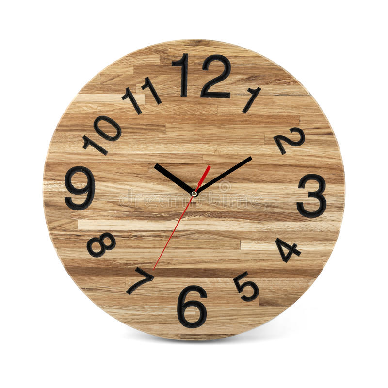 Wooden round wall watch - clock on white stock photo