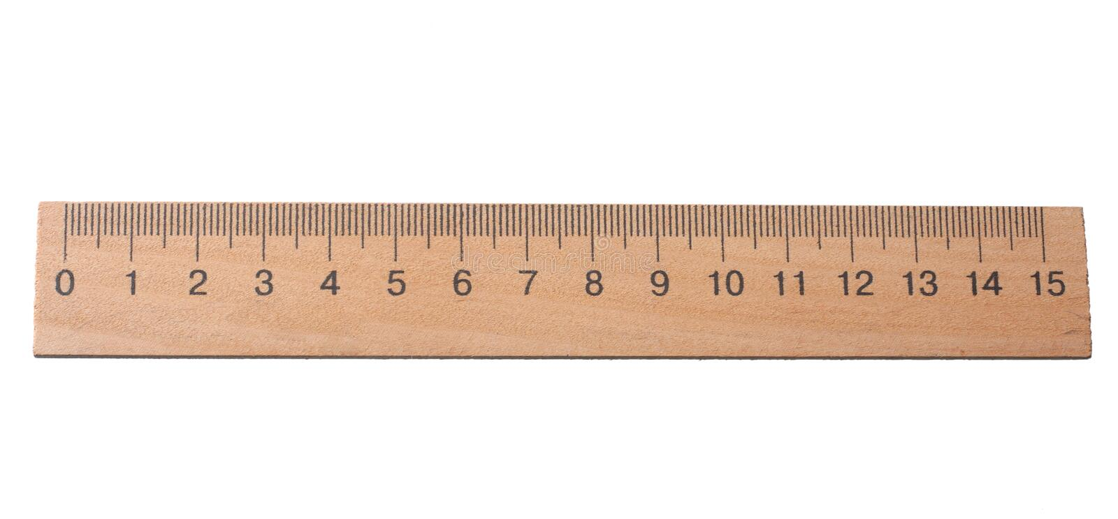 Wooden ruler isolated on white background. top view royalty free stock images