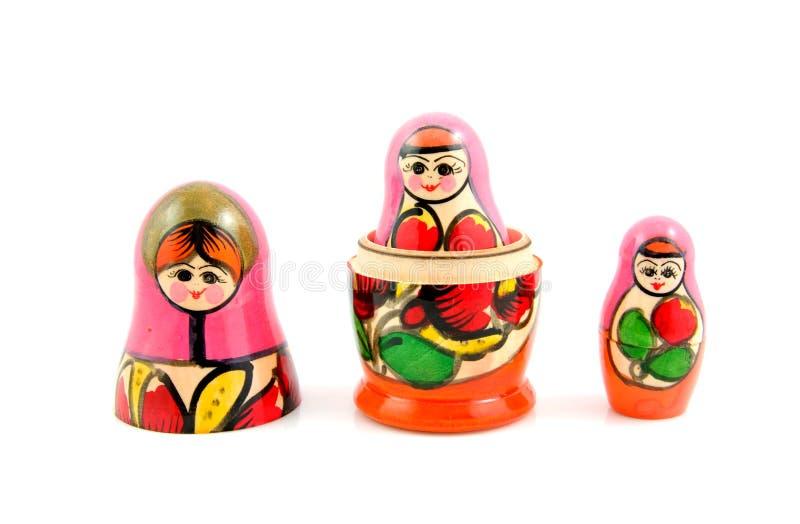 Wooden Russia matryoshka dolls. Isolated onwhite background stock image