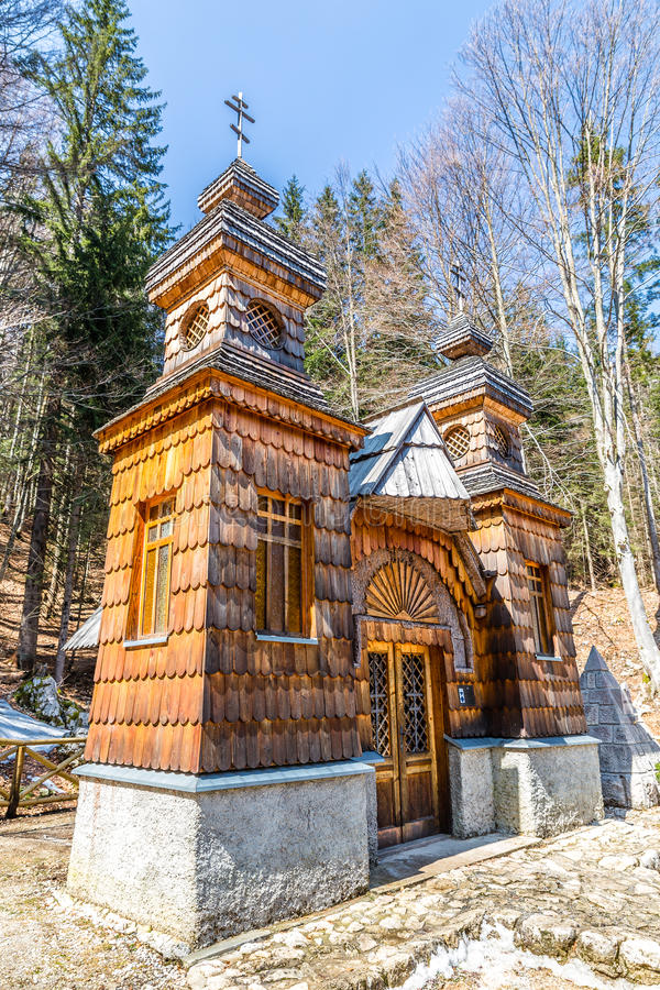 Free Wooden Russian Chapel On The Vrsic Pass-Slovenia Stock Image - 64620241