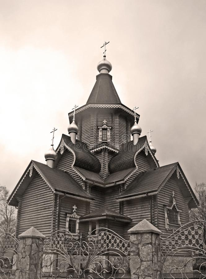 Wooden Russian church in analog style photography stock image