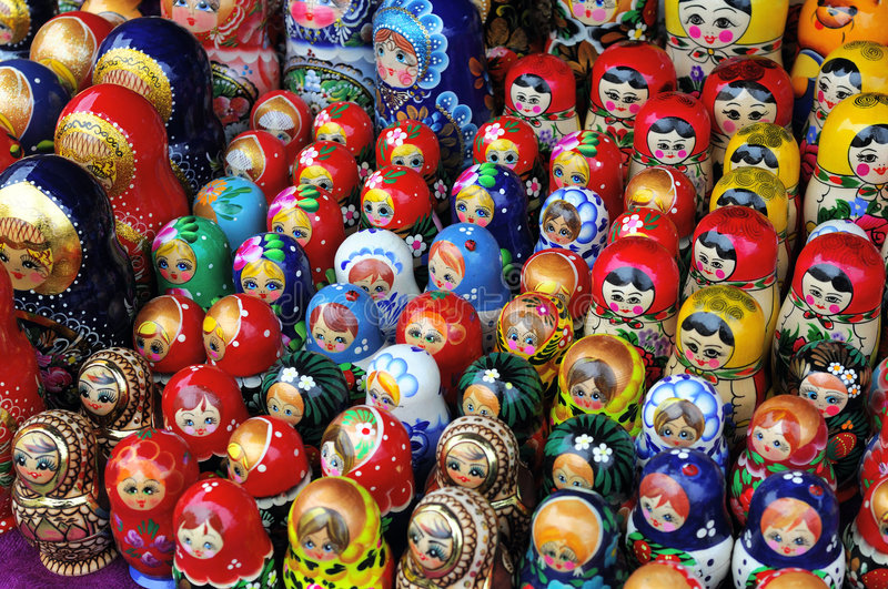 Wooden Russian dolls. Lot of traditional wooden Russian dolls royalty free stock photo