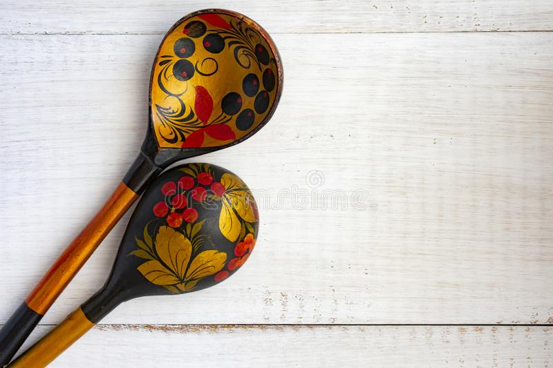 Wooden Russian spoon. On white background. There`s room for your text royalty free stock image