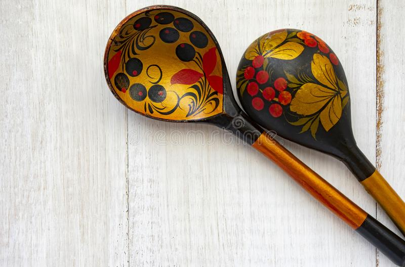 Wooden Russian spoon royalty free stock image