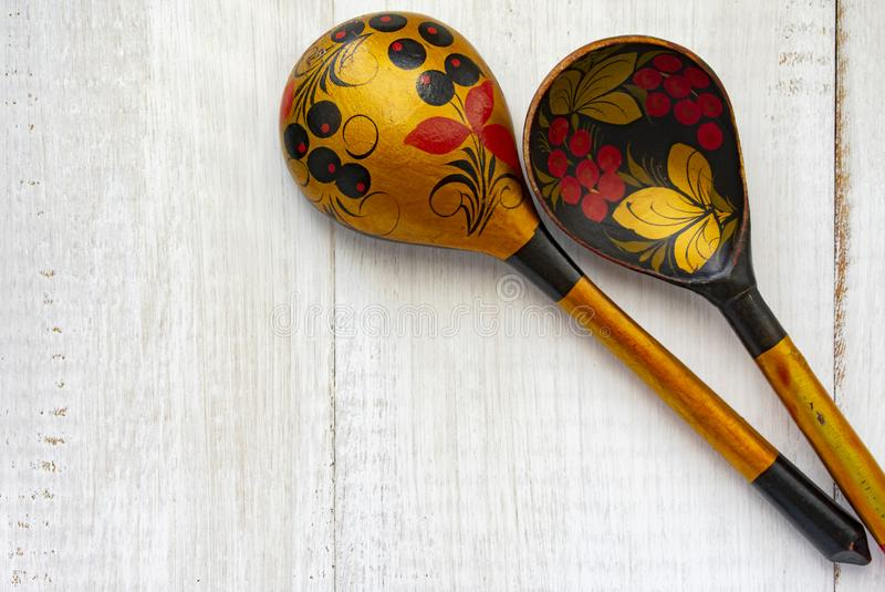 Wooden Russian spoon royalty free stock photos