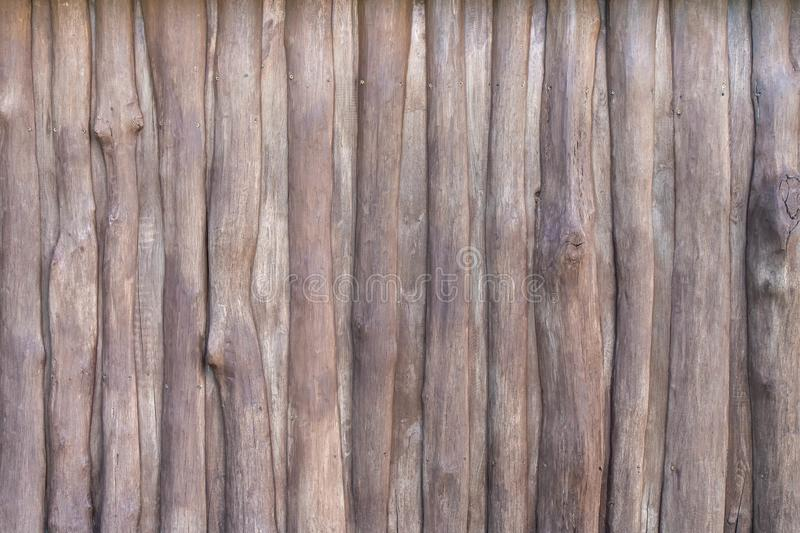 Wooden rustic fence of branches with nails background royalty free stock photography