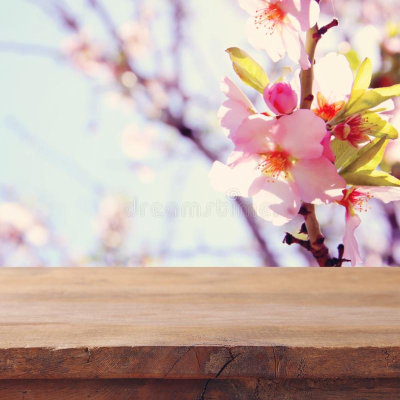 Free Wooden Rustic Table In Front Of Spring Cherry Blossoms Tree. Product Display And Picnic Concept. Stock Photos - 111079383