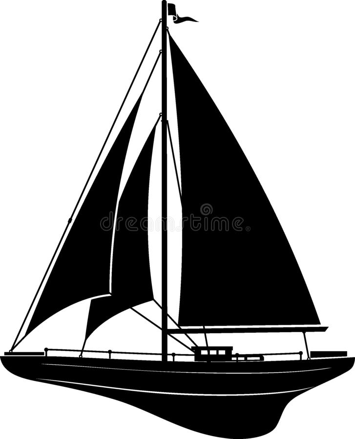 Wooden Sail Boat Silhouette. Isolated vector illustration of a wooden sail boat in silhouette form royalty free illustration