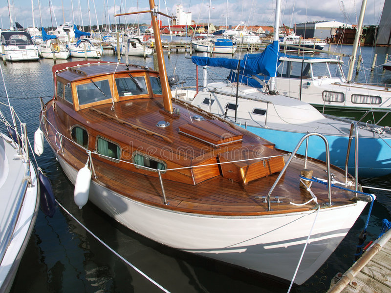 Wooden sailboat. Traditional wooden sailboat in Assens Marina Denmark royalty free stock photography