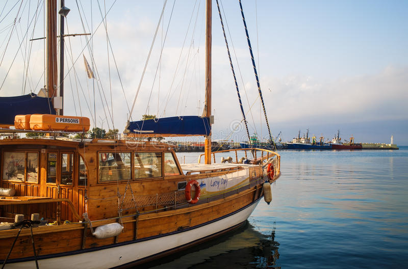 Wooden sailing yacht royalty free stock images