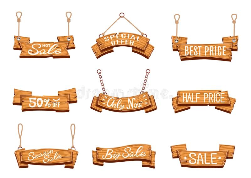 Wooden sale banners. Season sales, vintage wood sign boards. Discount price labels with shopping special offer cartoon vector illustration