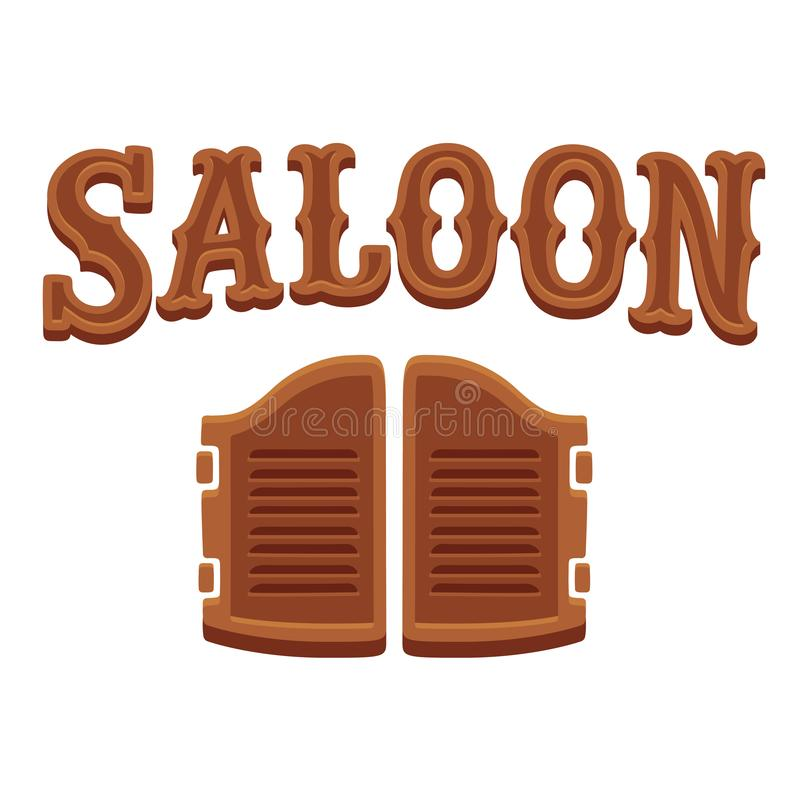 Wooden saloon doors and lettering royalty free illustration