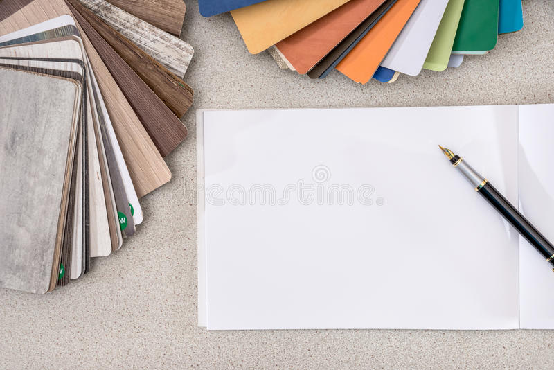 Wooden samples for furniture with blank note royalty free stock photo