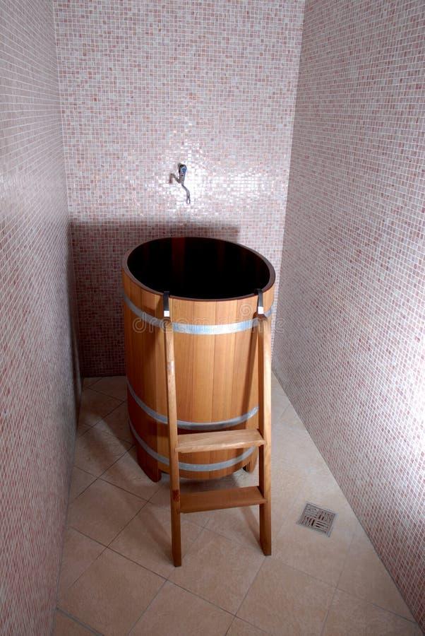 Wooden sauna bath stock photo