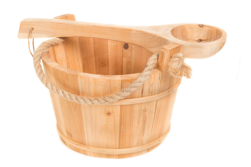 Wooden sauna bucket on a white background stock image