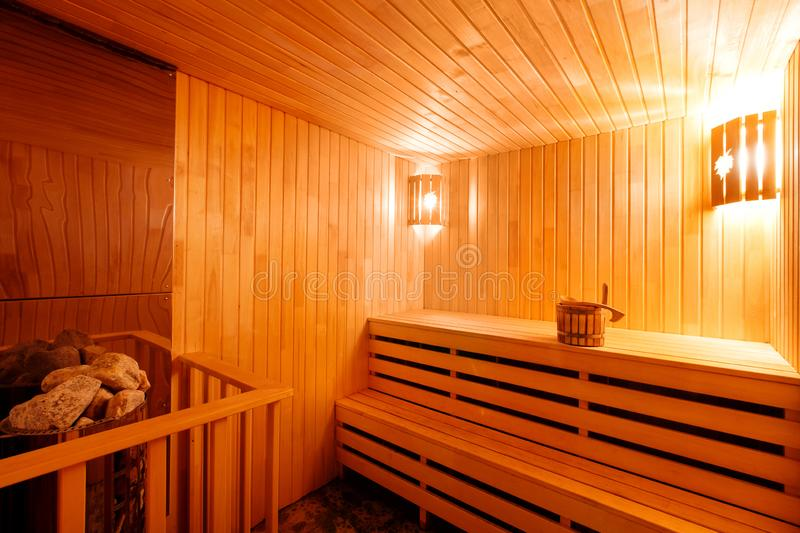 Wooden sauna in Finnish royalty free stock photo