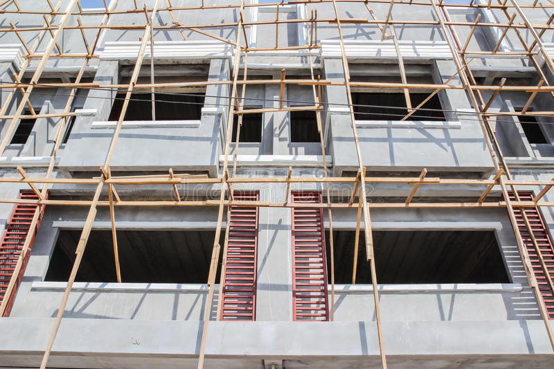 Wooden scaffolding for construction site royalty free stock photography