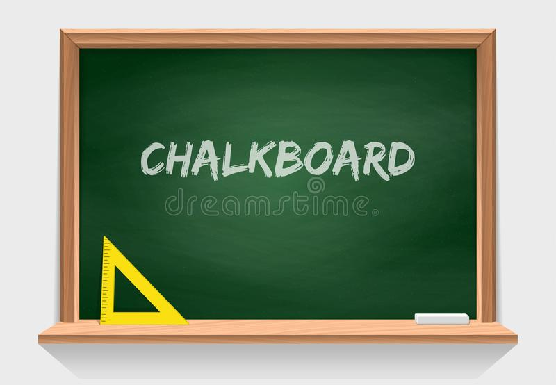 Wooden school chalkboard with green background texture. Classroom tools. Vector isolate on white royalty free illustration