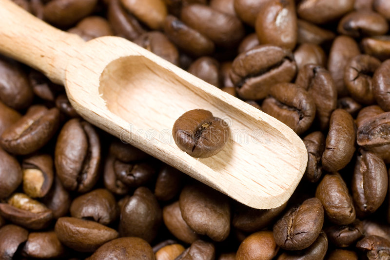 Wooden Scoop With A Coffee Bean Stock Photography