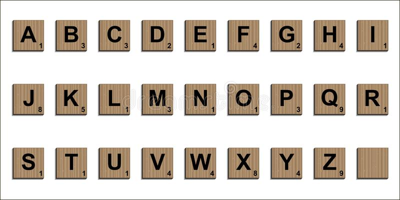 Wooden scrabble tiles alphabet letters 3D realistic, vector word scrabble puzzles design elements board game template royalty free illustration