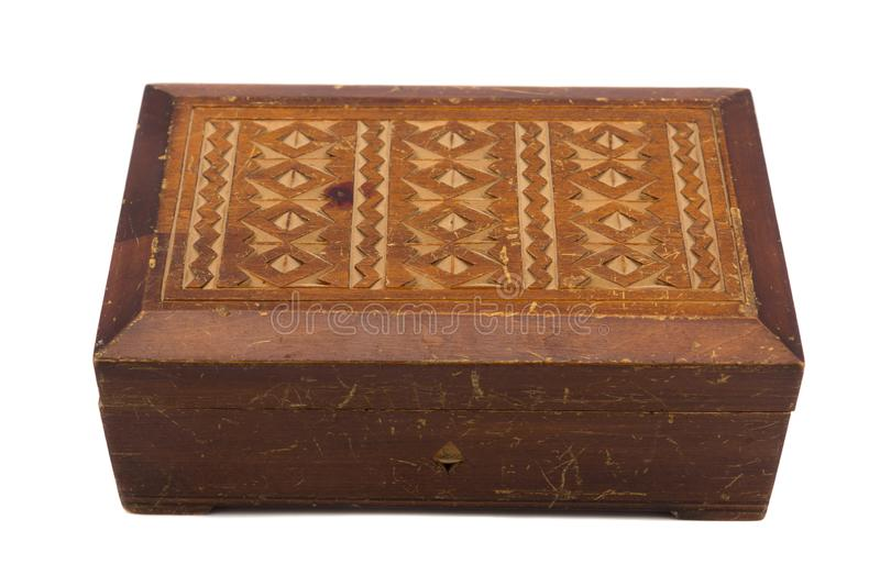Wooden scratched jewelry box royalty free stock photo