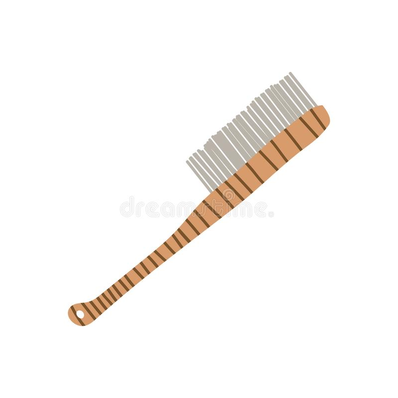Wooden Scrub Brush with Handle, Zero Waste Reusable Object, Eco lifestyle Concept Vector Illustration. On White Background vector illustration