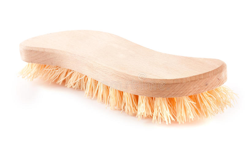 Wooden scrubbing brush royalty free stock image