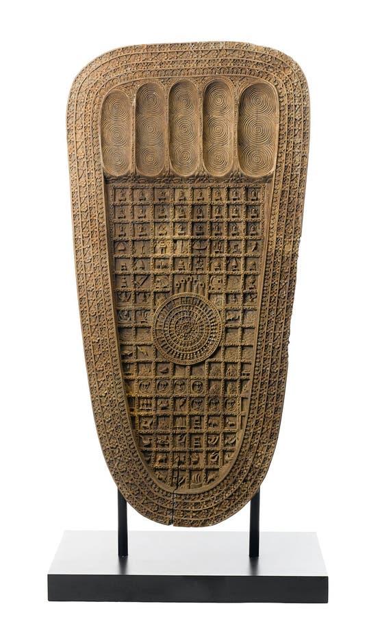 The wooden sculpture of the buddha s footprint