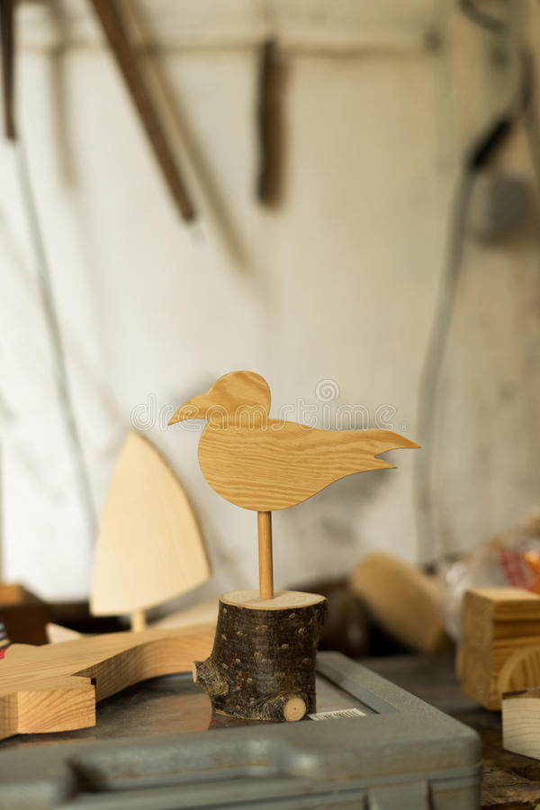 Wooden seagull in a factory royalty free stock photo