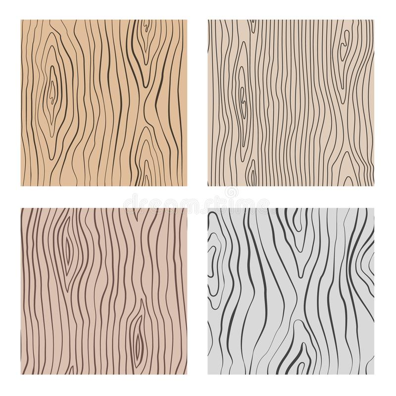 Wooden seamless patterns set. Wood grain repetitive vector textures vector illustration