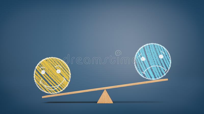 A wooden seesaw on blue background with a chalk drawing of a yellow happy smiling face overweighing a blue sad face. stock illustration