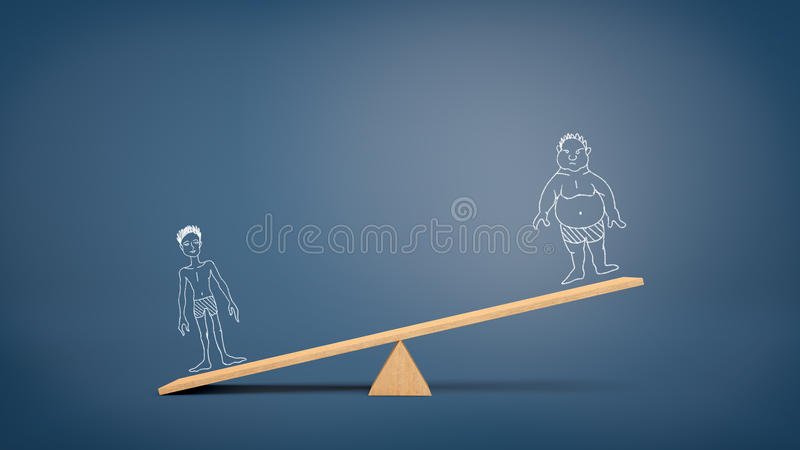 A wooden seesaw on blue background holding a heavier drawing of a fit man and a less important drawing of an unfit man. Sport and fitness. Health over laziness royalty free stock photo