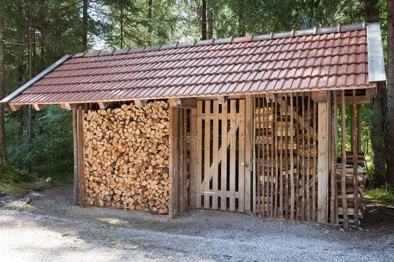 Download Wooden Shack Used For Storage Of Firewood Stock Photo   Image Of  Front, Farm