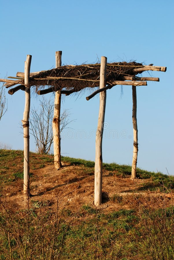Wooden shanty. In zoology garden stock image
