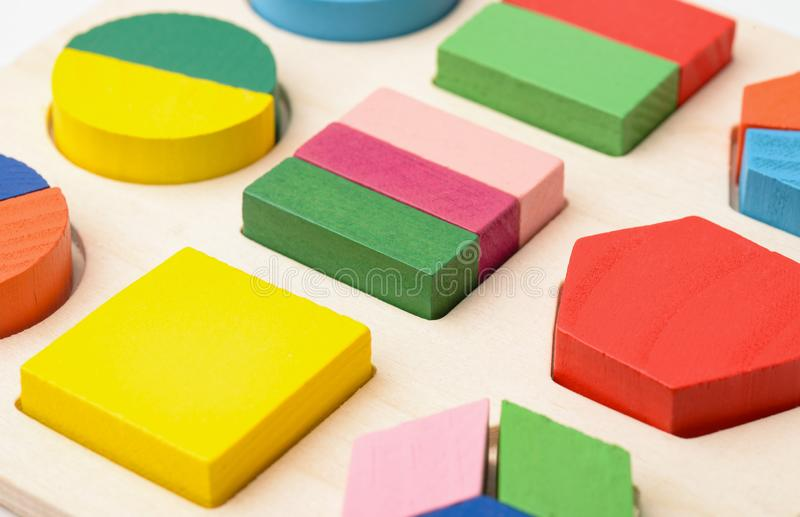 Wooden shape sorter puzzle toy stock image
