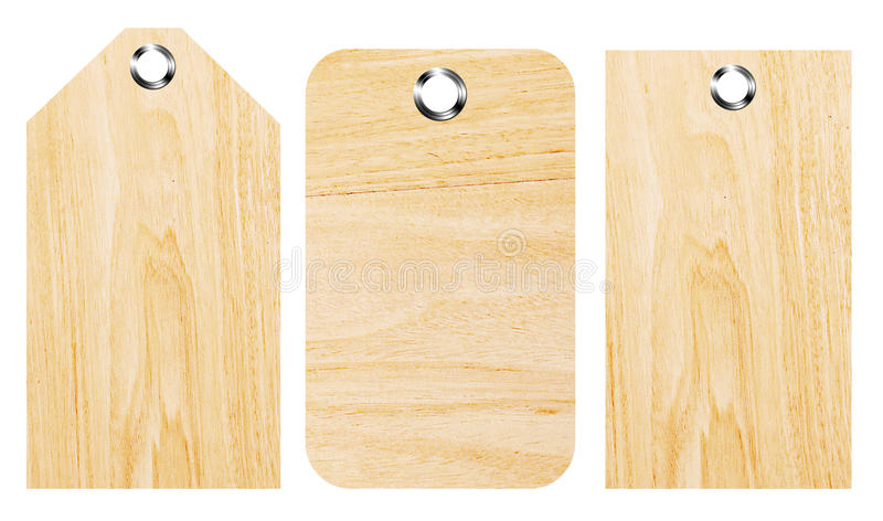 Wooden shapes. With chrome buttons over white background. Isolated images stock images
