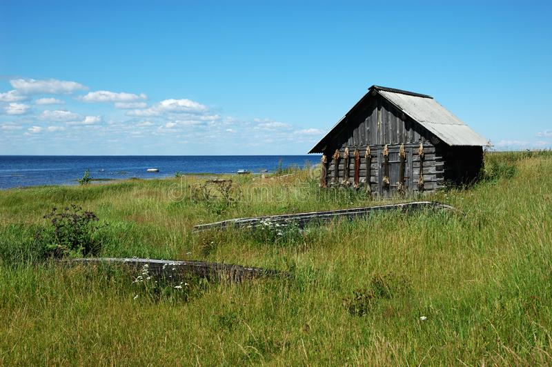 Download Wooden Shed With Fishing Cordages On The Lake Bank Stock Image - Image: 5153051
