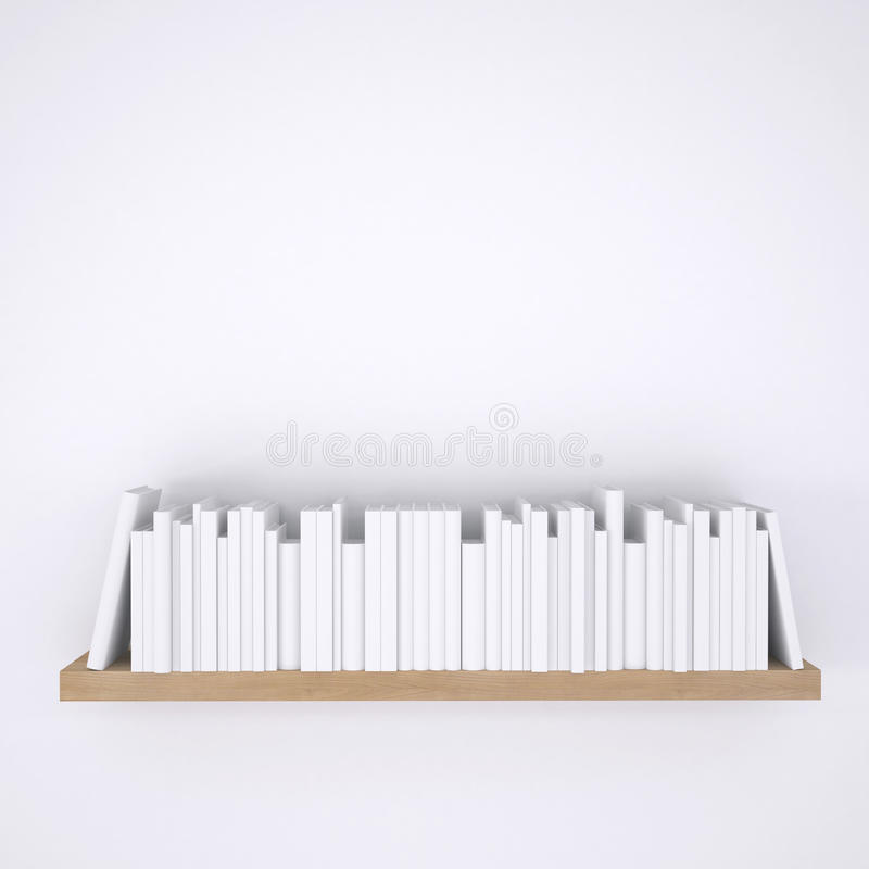 Wooden shelf with books on white wall background. 3d render royalty free illustration