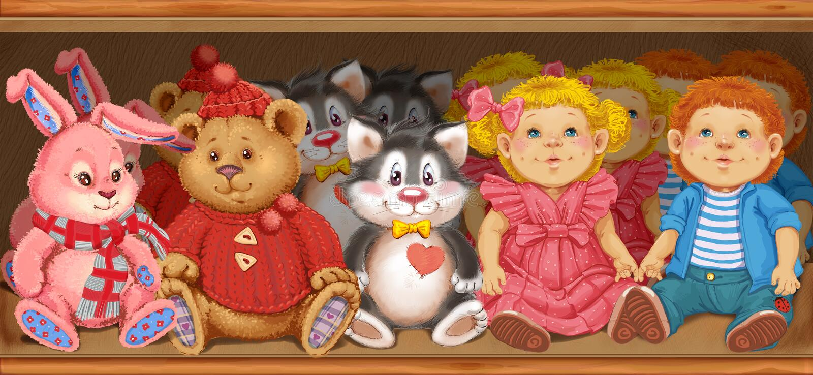 Wooden shelf with children's toys in the store stock illustration