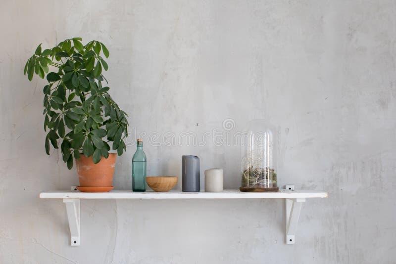 Wooden shelf with decor royalty free stock photos